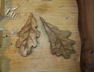 Oak leaves in basswood
