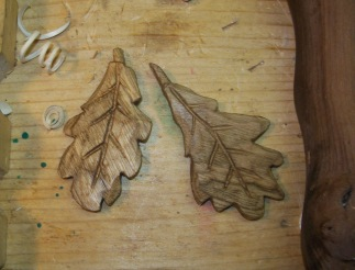 Oak leaves in basswood